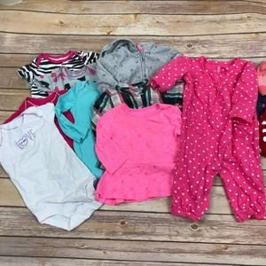 Other - Carters Baby Girl 6M Lot of 12 Pieces Bodysuits A1
